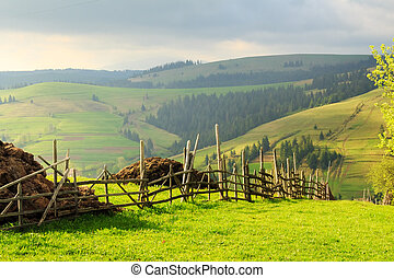 Spring landscape in the Carpathian mountains with fence