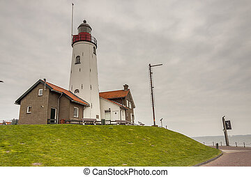 White lighthouse in Urk - Netherlands.