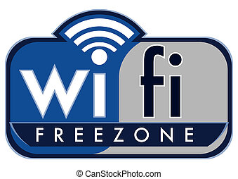wifi free zone with small cap's coffee on a white background