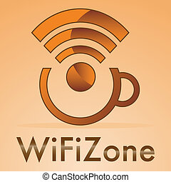 wifi zone with small cap's coffee on a orange background