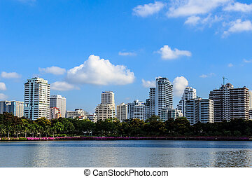 Lake and Cityscape in Sunny Day
