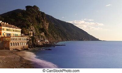view of the coast in the seaside town of camogli, italy