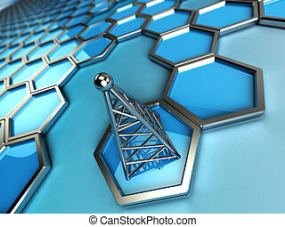 communications tower and hexagons - 3d background is blue...