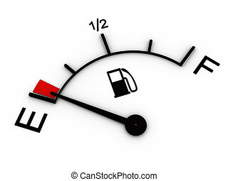3d illustration of fuel gauge showing low level