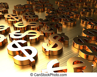 golden signs of dollars - 3d abstract background with golden...