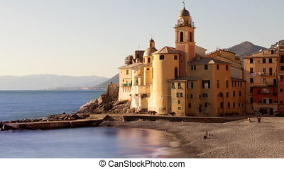 view of the church in the seaside town of camogli, italy