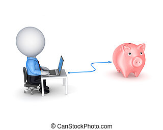 Online banking conceptIsolated on white background3d...