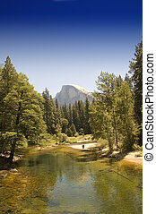 Half dome from Yosemite Valley with the merced river