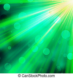 Green luminous rays. EPS 10