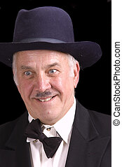 Old guy as Charlie Chaplin for halloween - Older man dressed...
