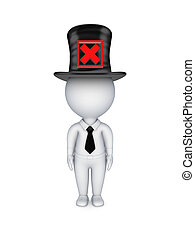 3d small person with red cross mark on a top-hat.