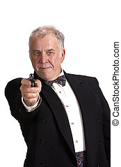 older businessman impersonating James Bond - older...
