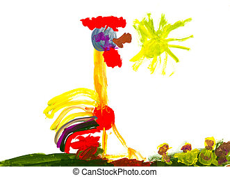 child's paiting - rooster with red comb - childs painting -...