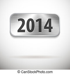 2014 digits on brushed metal tablet. Vector illustration
