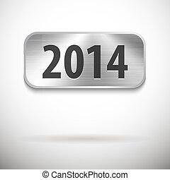 2014, dígitos, escovado, metal, tabuleta