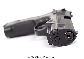 9mm gun - 9 mm gun close-up on white background