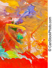 child's painting - red and yellow gouache brush strokes -...