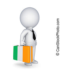 Suitcase with flag of Irish - 3d small person with suitcase...
