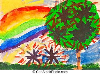 child's, paiting, -, rainbow, under, fruit, garden