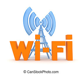 Wi-fi conceptIsolated on white3d rendered