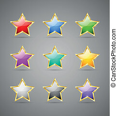 Colorful stars - Set of glossy golden colorful stars...