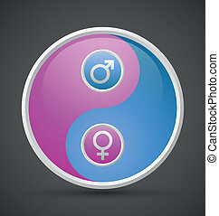 Venus and Mars female and male yin yang symbol