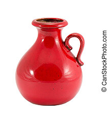 red ceramic vase round handle small hole isolated
