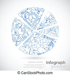 Pie Chart Sketch - illustration of sketch of pie chart with...