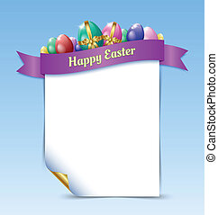 Happy Easter document template - Curly paper Happy Easter...