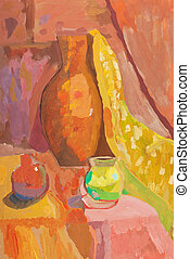 child's paiting - still life with ceramic jug and two vases