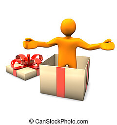 Manikin Gift Surprise - Orange cartoon character in the gift...