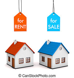House Sell Rent - Two homes with price labels For Rent and...