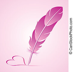 Valentines goose quill is writing heart symbol isolated on...