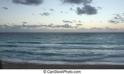 beautiful sunrise over the caribbean sea, mexico.