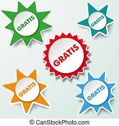 Star Labels Gratis - Star paper labels with the text gratis....