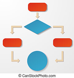Colorful Flowchart Paperlabels White Background - Flowchart...