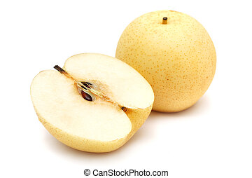 Sliced Nashi Pears - Nashi pear sliced into half on white...