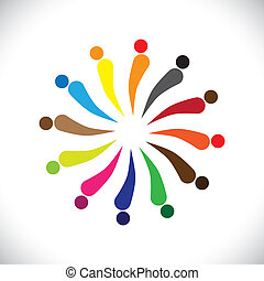Abstract colorful happy people in circle- vector graphic...