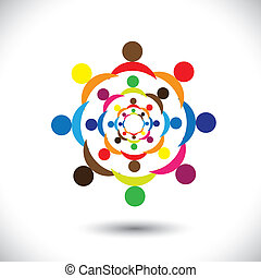 Abstract colorful people signs in circles- vector graphic...