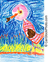 child's drawing - applique of river bird - childs drawing -...