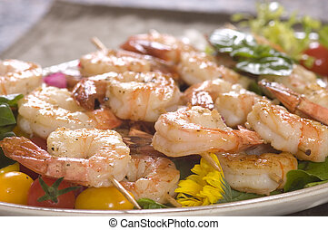 Shrimp on a skewer - Shrimp lunch on a skewer,