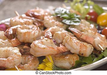 Shrimp on skewers