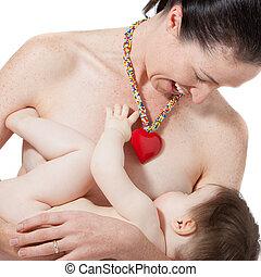mãe, peito, alimentação