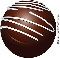 Chocolate candy round with white stripes. Vector...