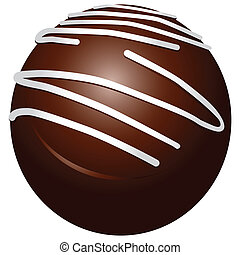 Chocolate candy round with white stripes Vector illustration...