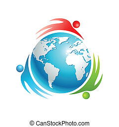 Social world icon. Concept vector people. People rotating...
