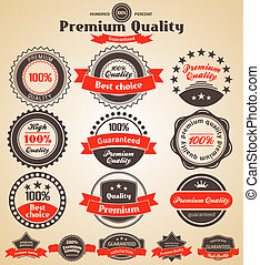 Premium Quality Labels. Design elements with retro vintage...