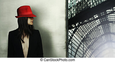 Model with red hat