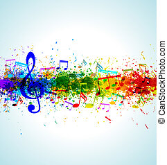 Music background. Color paint splashes. Gradient vector....