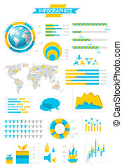 Infographic collection with labels and graphic elements....